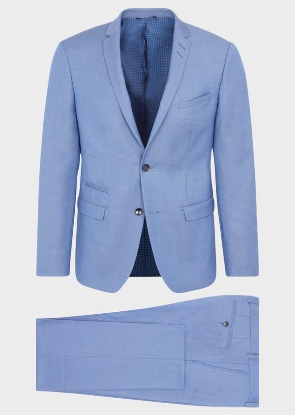 Costume 2 pièces Slim en laine stretch naturelle unie bleu chambray - Father and Sons 37525