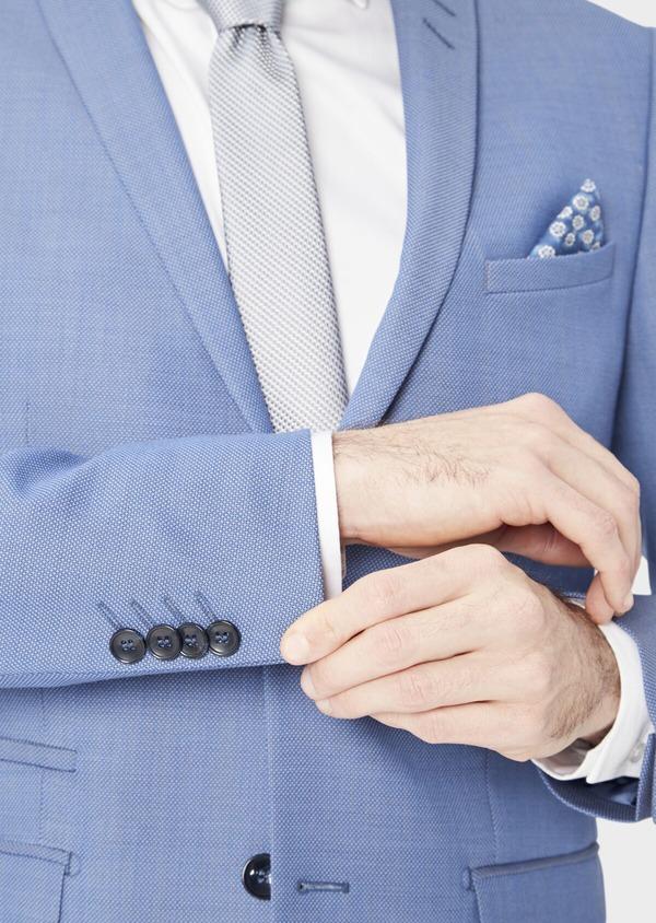 Costume 2 pièces Slim en laine stretch naturelle unie bleu chambray - Father and Sons 37530