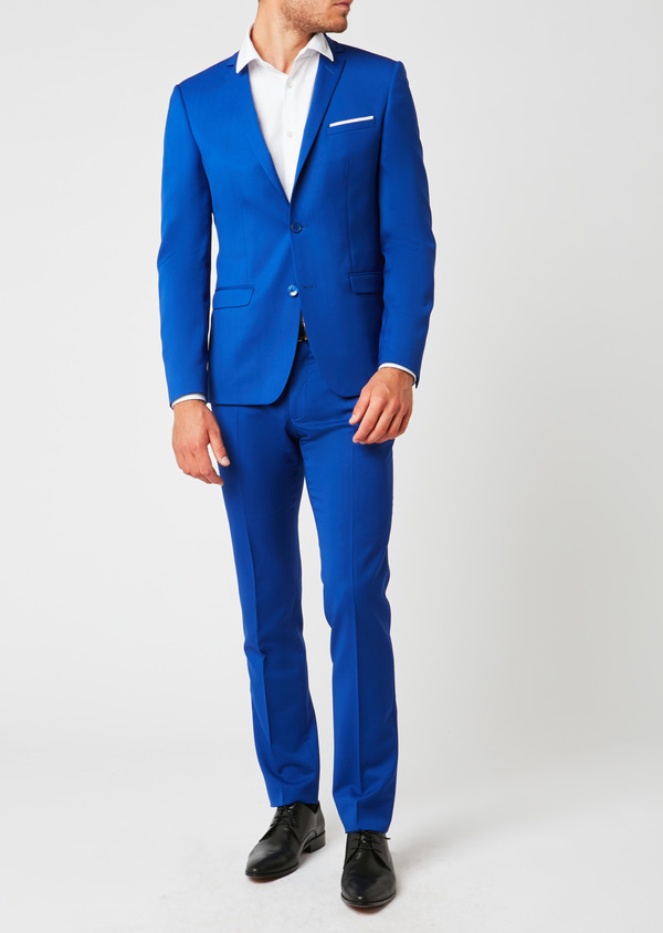 Costume 2 pièces Slim en laine unie bleu roi - Father and Sons 37357