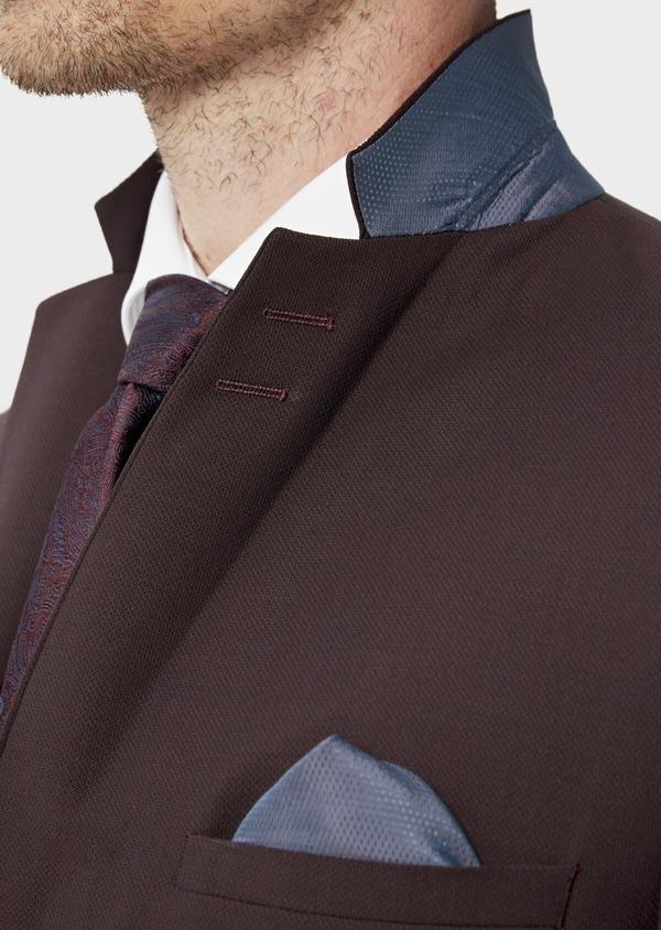 Costume 2 pièces Slim en laine stretch naturelle unie bordeaux - Father and Sons 35034