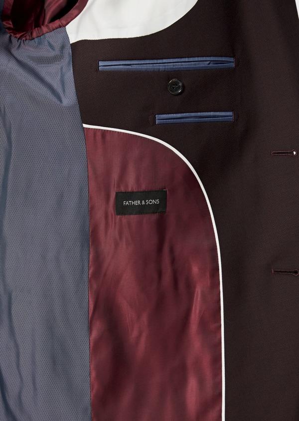 Costume 2 pièces Slim en laine stretch naturelle unie bordeaux - Father and Sons 35036