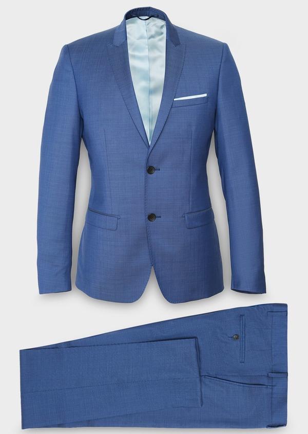 Costume 2 pièces Slim en laine fil-à-fil unie bleue - Father and Sons 31223