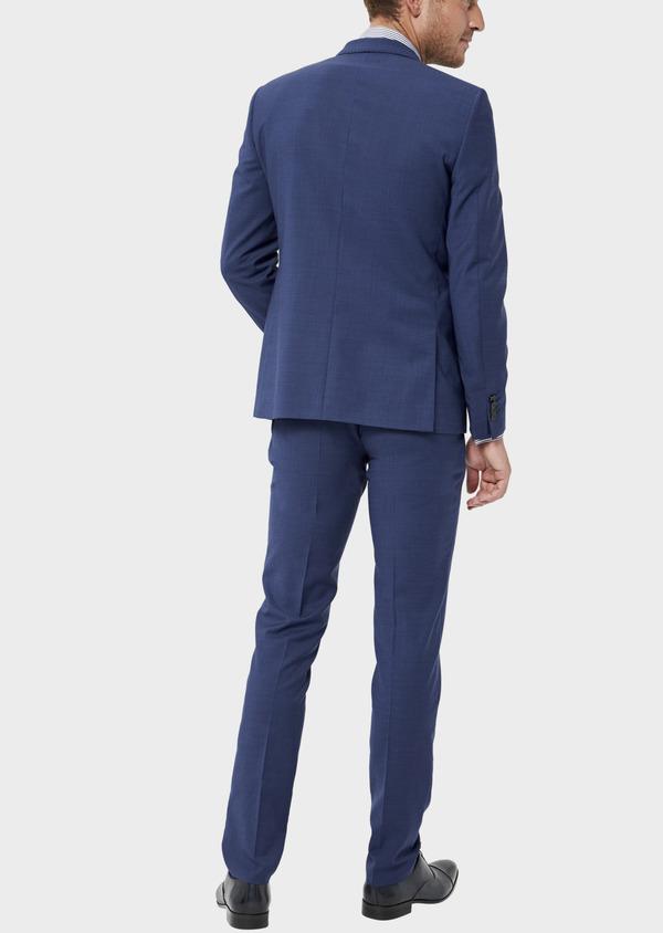 Costume 2 pièces Slim en laine stretch naturelle unie bleue - Father and Sons 35978