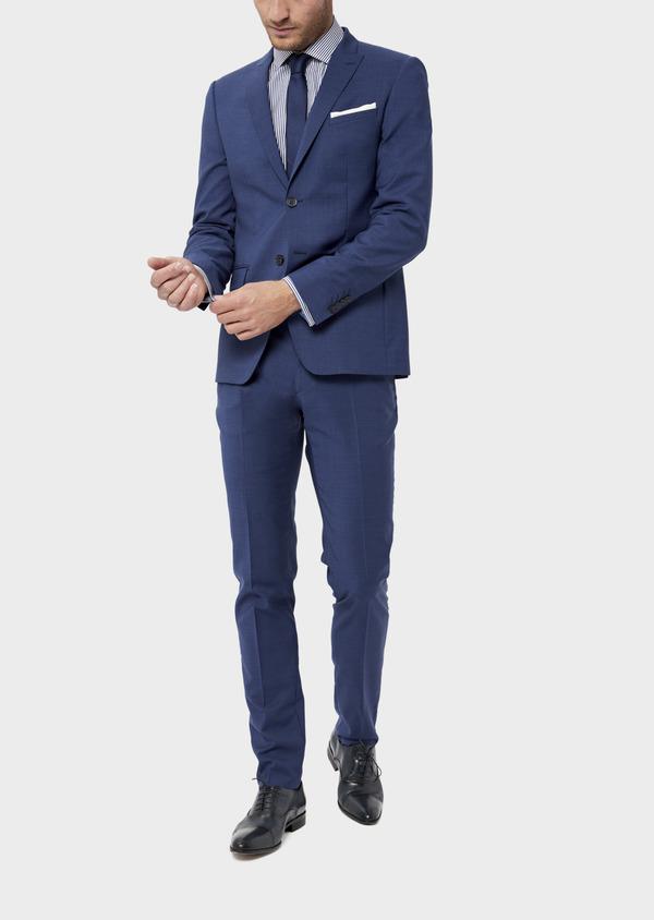 Costume 2 pièces Slim en laine stretch naturelle unie bleue - Father and Sons 35977