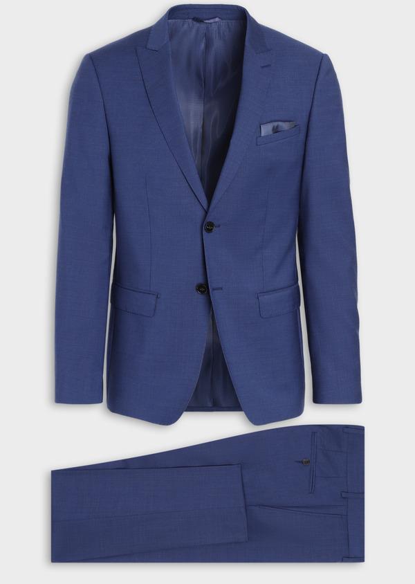 Costume 2 pièces Slim en laine stretch naturelle unie bleue - Father and Sons 35975