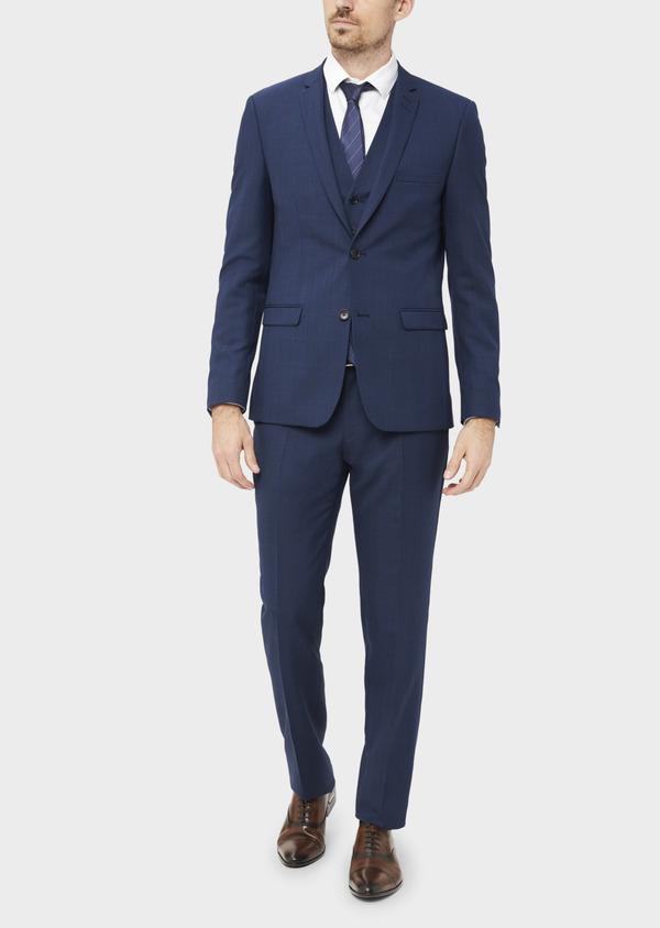 Costume 2 pièces Slim en laine unie bleu indigo - Father and Sons 37081
