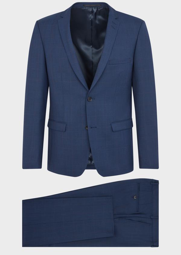Costume 2 pièces Slim en laine unie bleu indigo - Father and Sons 37079