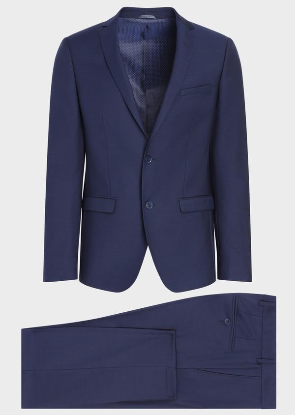 Costume 2 pièces Slim en laine unie bleu indigo - Father and Sons 35067