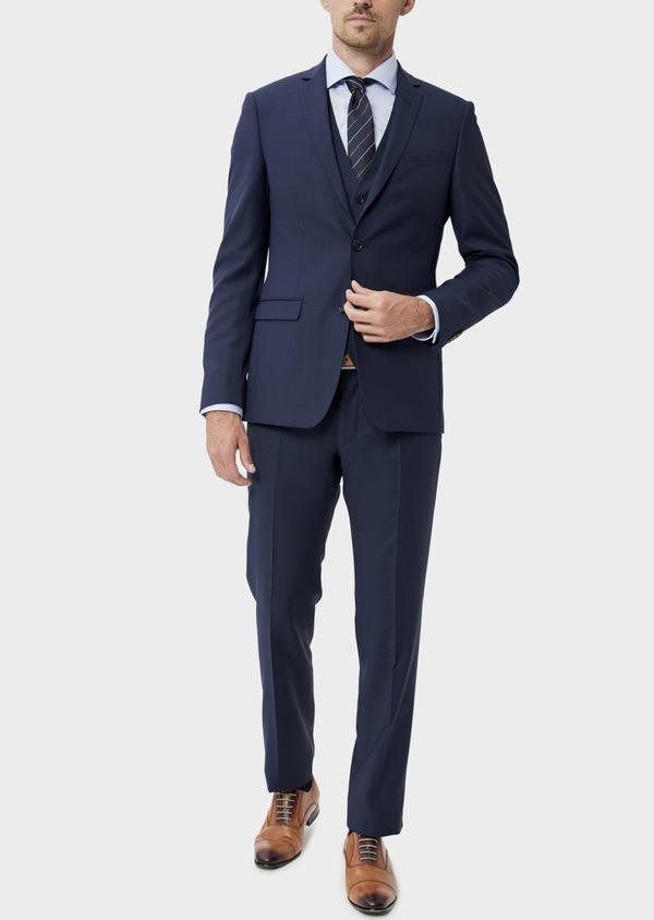 Costume 2 pièces Slim en laine unie bleu indigo - Father and Sons 35076