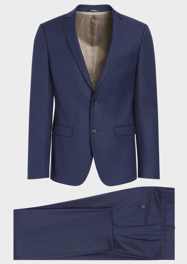 Costume 2 pièces Slim en laine unie bleu indigo - Father and Sons 35074