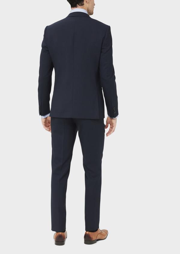 Costume 2 pièces Slim en laine stretch naturelle unie bleu marine - Father and Sons 37486