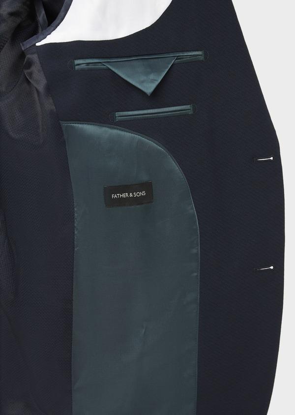 Costume 2 pièces Slim en laine stretch naturelle unie bleu marine - Father and Sons 37489