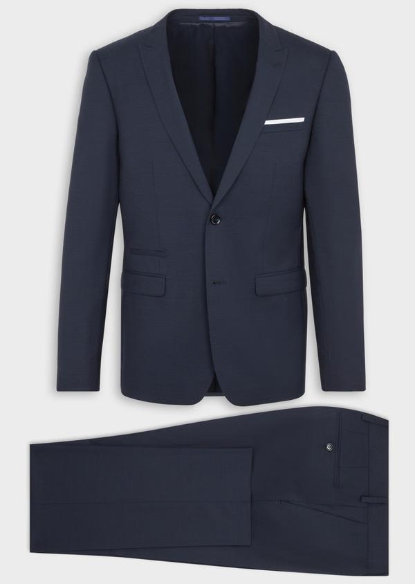 Costume 2 pièces Slim en laine stretch naturelle unie bleu marine - Father and Sons 37483
