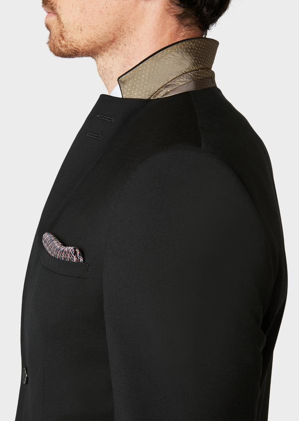Costume 2 pièces Slim en laine façonnée unie noire - Father and Sons 31475