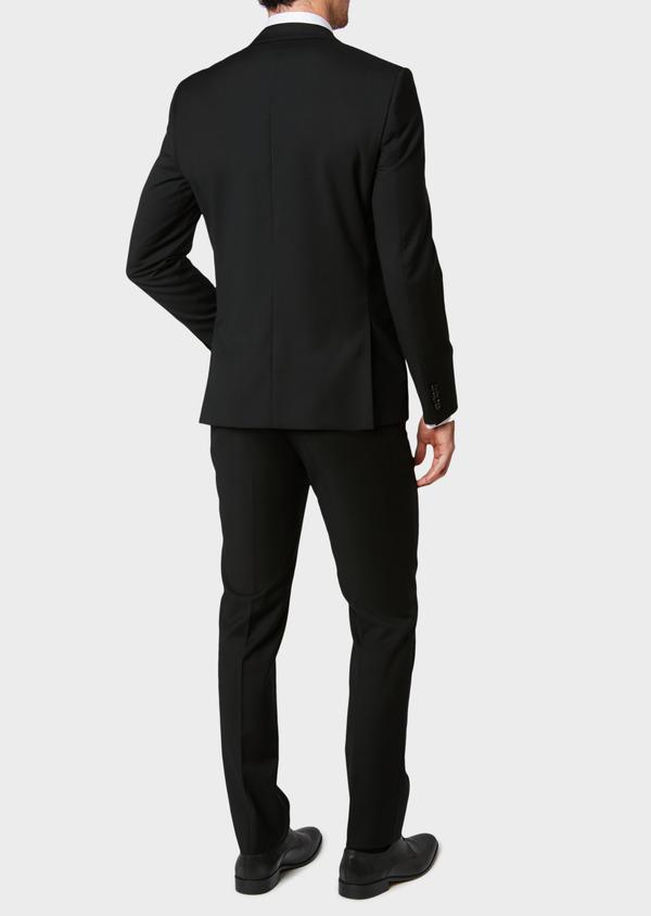 Costume 2 pièces Slim en laine façonnée unie noire - Father and Sons 31474