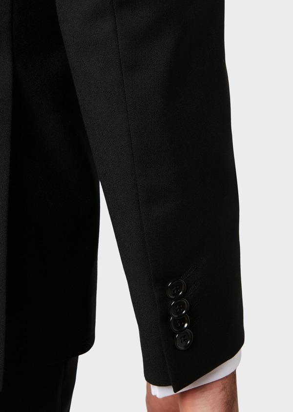 Costume 2 pièces Slim en laine façonnée unie noire - Father and Sons 31476