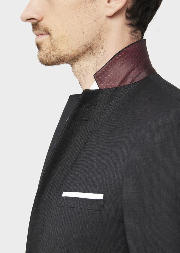 Costume 2 pièces Slim en laine stretch naturelle unie noire - Father and Sons 37564