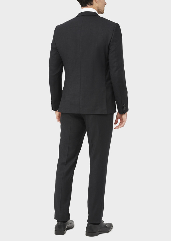 Costume 2 pièces Slim en laine stretch naturelle unie noire - Father and Sons 37563