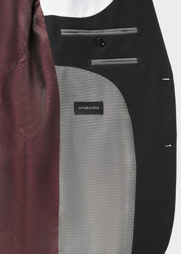 Costume 2 pièces Slim en laine stretch naturelle unie noire - Father and Sons 37566