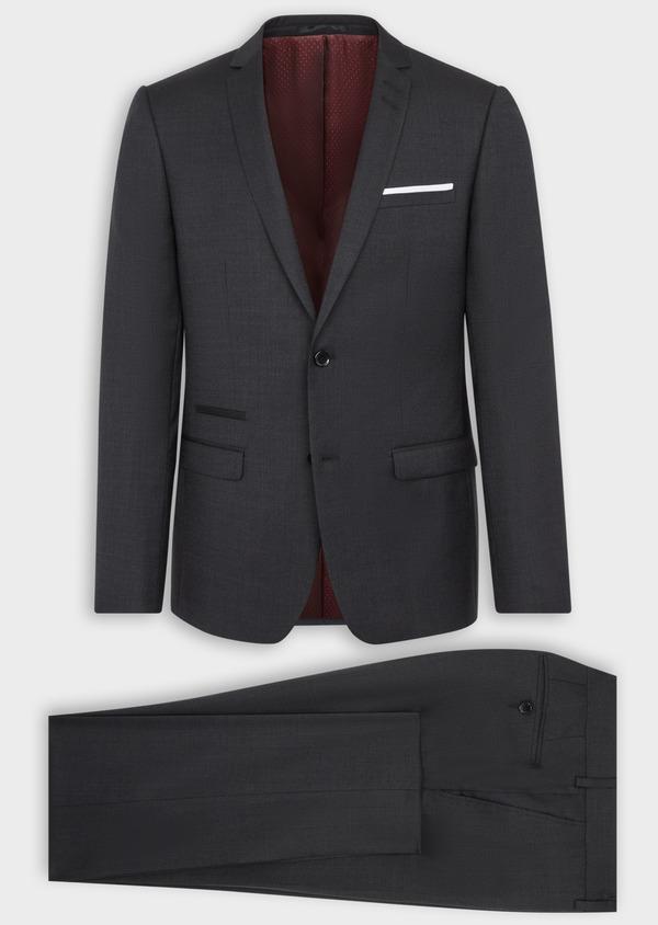 Costume 2 pièces Slim en laine stretch naturelle unie noire - Father and Sons 37560