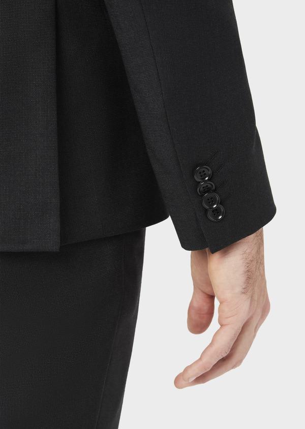 Costume 2 pièces Slim en laine stretch naturelle unie noire - Father and Sons 37565