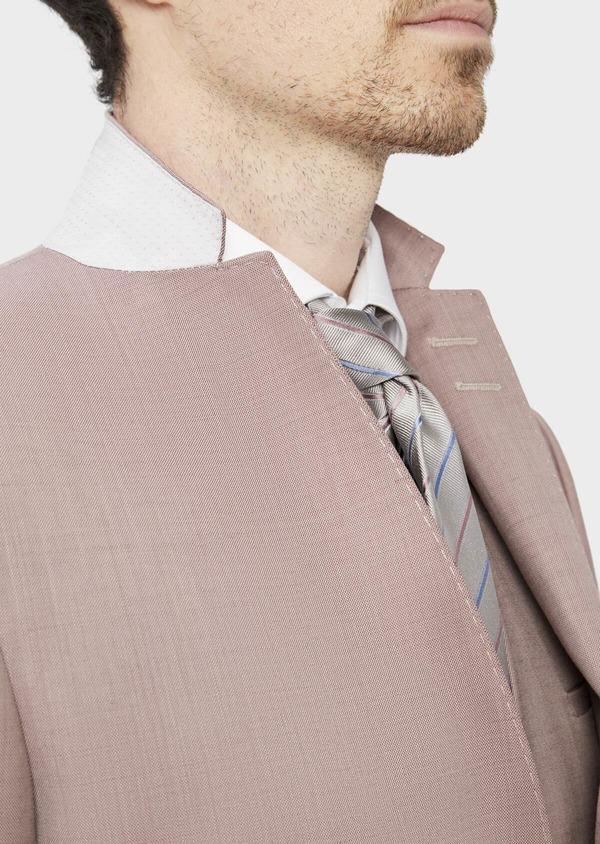 Costume 2 pièces Slim en laine stretch naturelle unie rose foncé - Father and Sons 37445