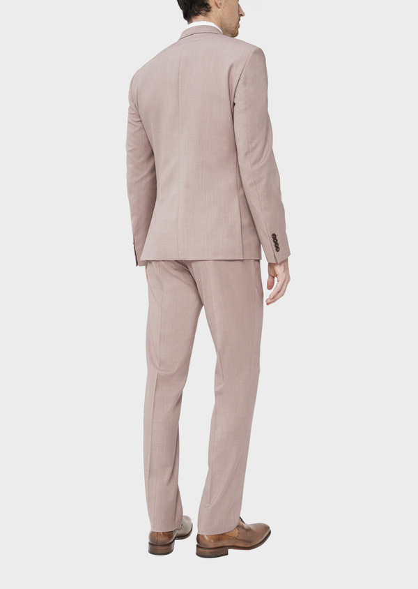 Costume 2 pièces Slim en laine stretch naturelle unie rose foncé - Father and Sons 37444