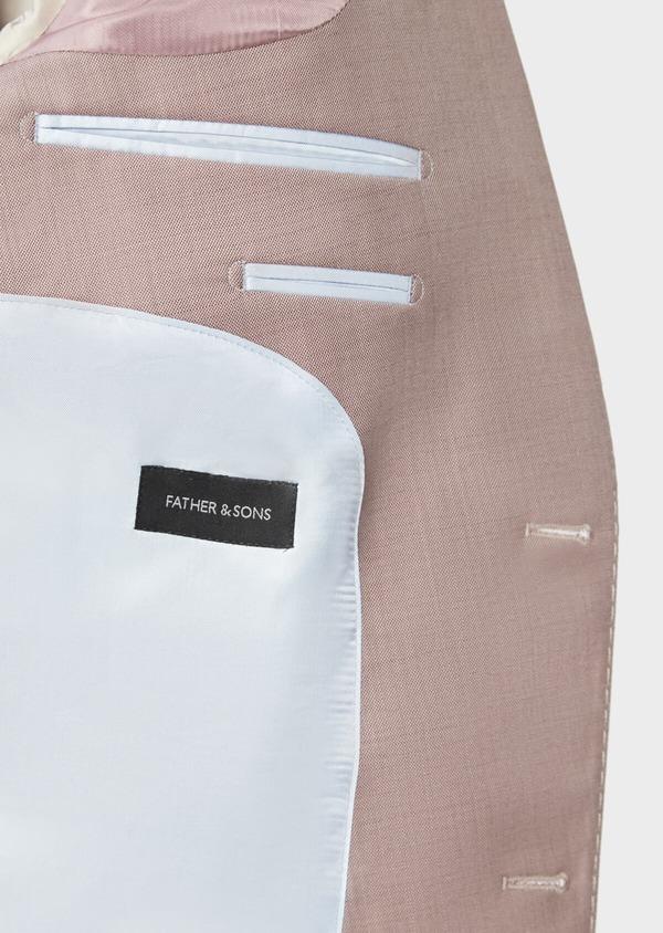 Costume 2 pièces Slim en laine stretch naturelle unie rose foncé - Father and Sons 37447