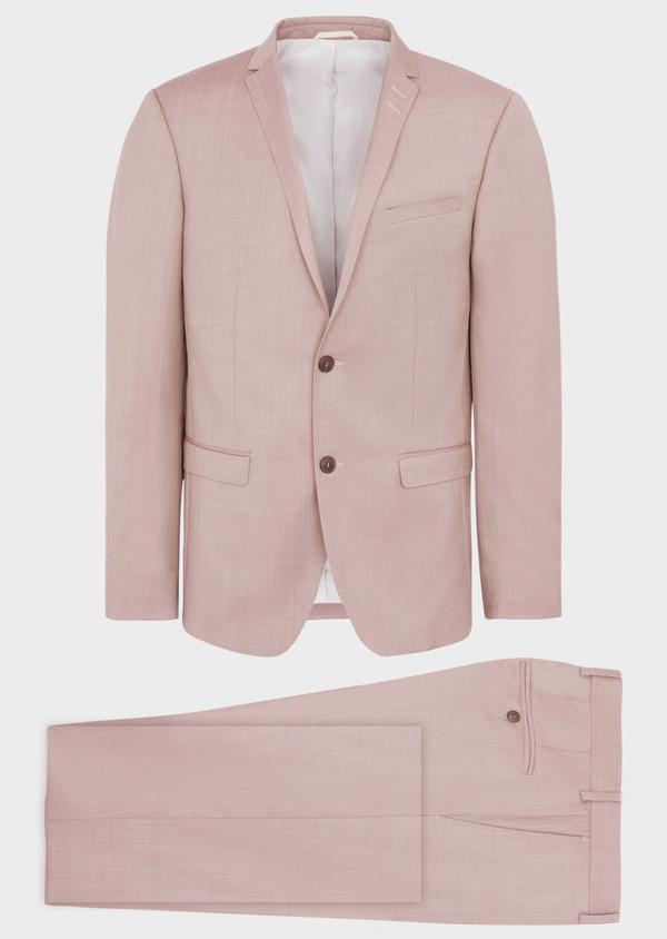 Costume 2 pièces Slim en laine stretch naturelle unie rose foncé - Father and Sons 37441