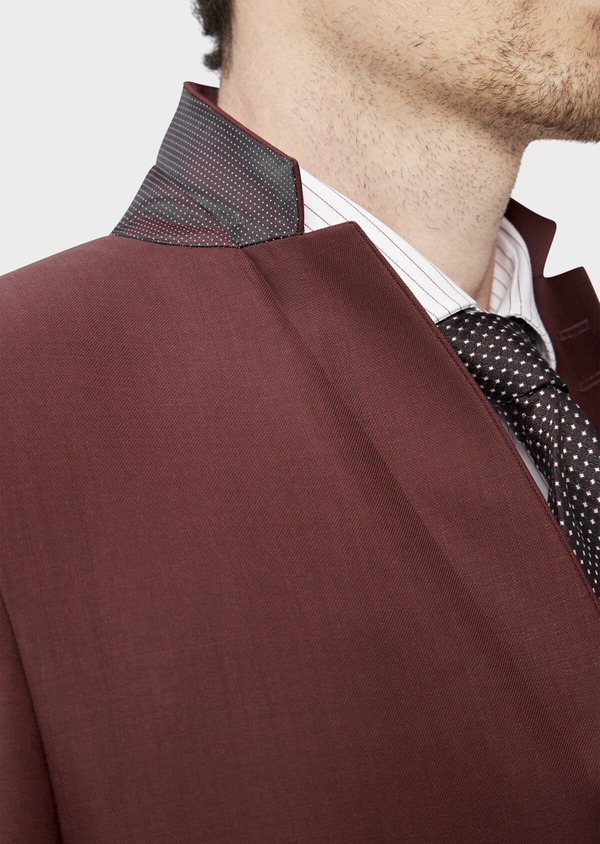 Costume 2 pièces Slim en laine stretch naturelle unie bordeaux - Father and Sons 37550