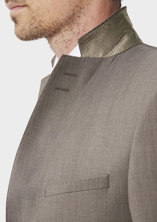 Costume 2 pièces Slim en laine stretch naturelle unie taupe - Father and Sons 35057