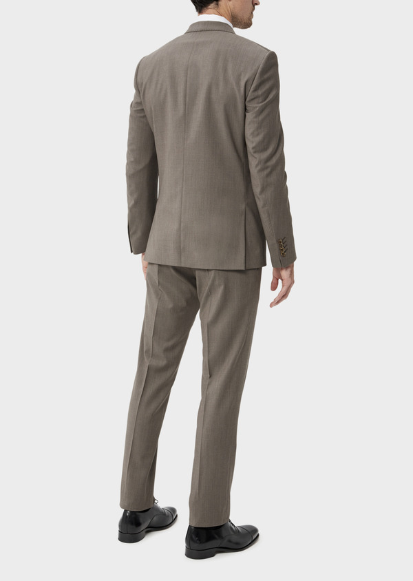 Costume 2 pièces Slim en laine stretch naturelle unie taupe - Father and Sons 35056