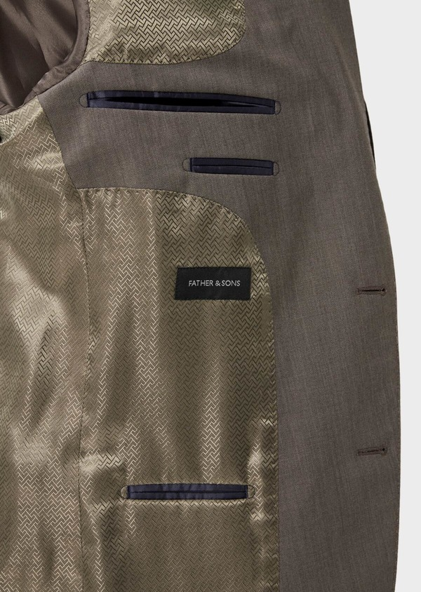 Costume 2 pièces Slim en laine stretch naturelle unie taupe - Father and Sons 35059