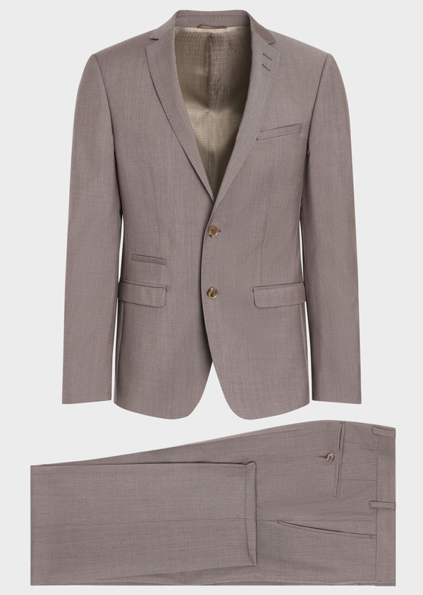 Costume 2 pièces Slim en laine stretch naturelle unie taupe - Father and Sons 35053