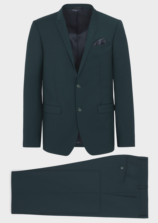 Costume 2 pièces Slim en laine stretch unie verte - Father and Sons 37504