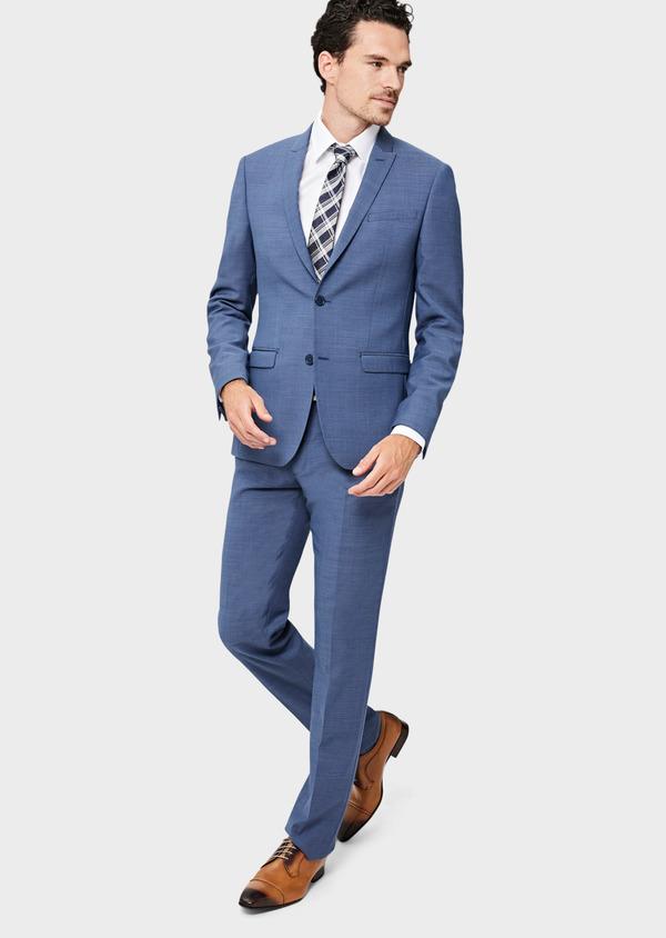 Costume 2 pièces Slim en laine unie bleu indigo - Father and Sons 40934