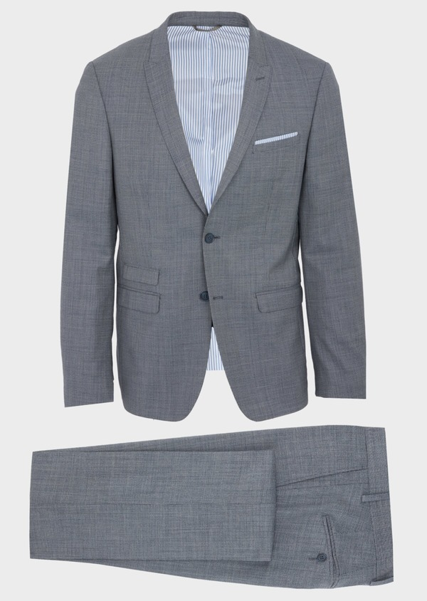 Costume 2 pièces Regular en laine unie bleu chambray - Father and Sons 40981