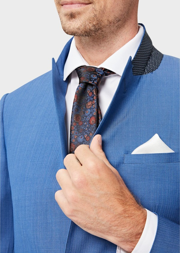 Costume 2 pièces Slim en laine unie bleu azur - Father and Sons 41005