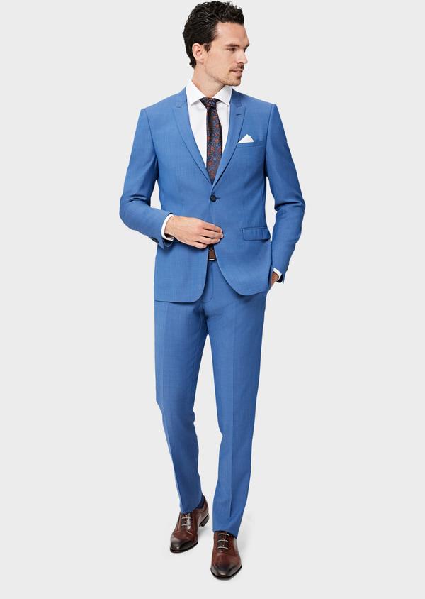 Costume 2 pièces Slim en laine unie bleu azur - Father and Sons 41003