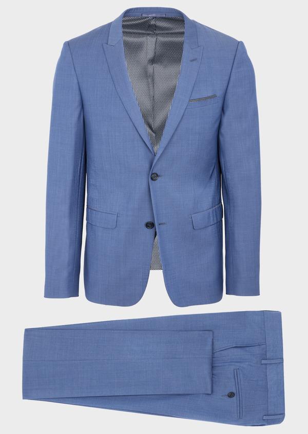 Costume 2 pièces Slim en laine unie bleu azur - Father and Sons 41002
