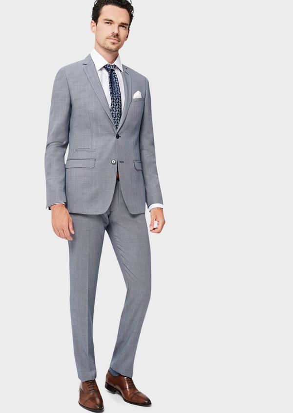Costume 2 pièces Slim en laine unie gris clair - Father and Sons 41010