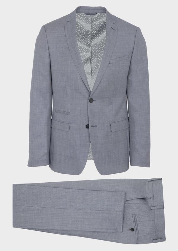 Costume 2 pièces Slim en laine unie gris clair - Father and Sons 41009