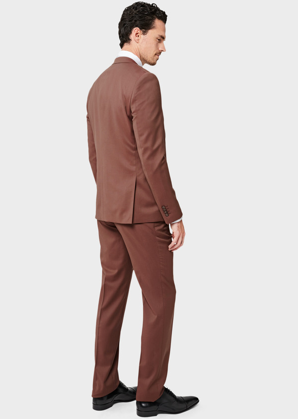 Costume 2 pièces Slim en laine unie rose - Father and Sons 40997