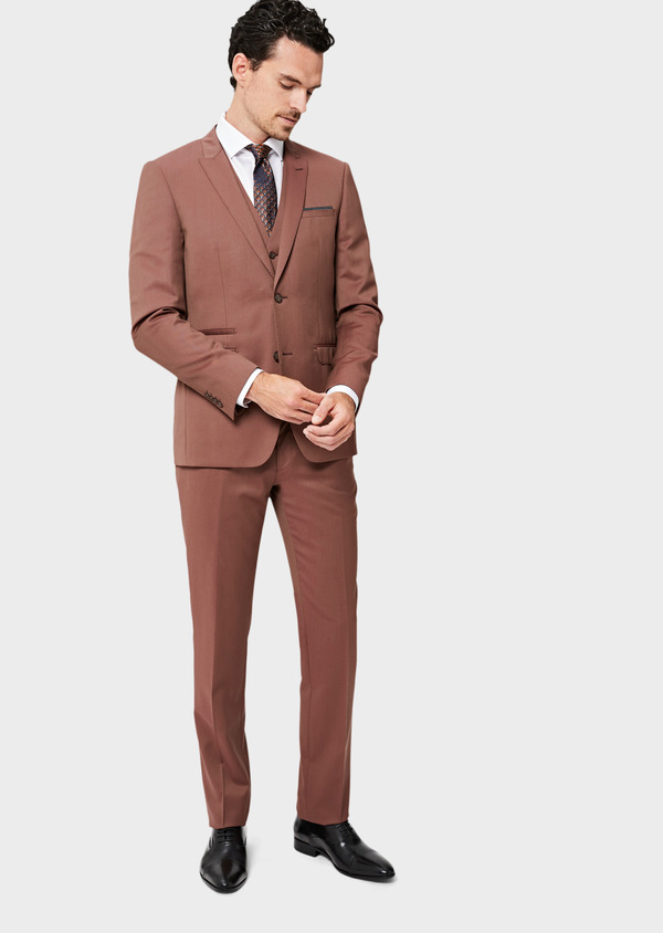 Costume 2 pièces Slim en laine unie rose - Father and Sons 40996