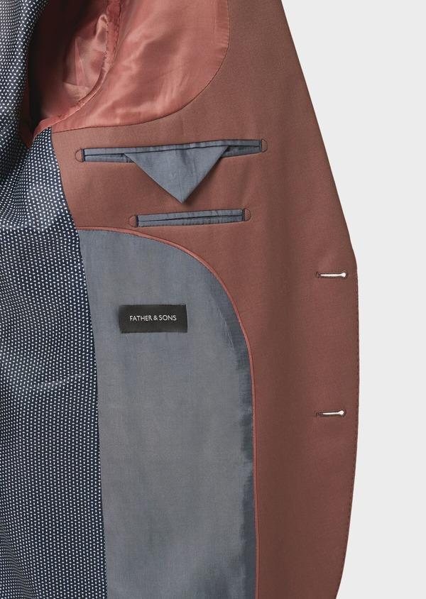 Costume 2 pièces Slim en laine unie rose - Father and Sons 41000