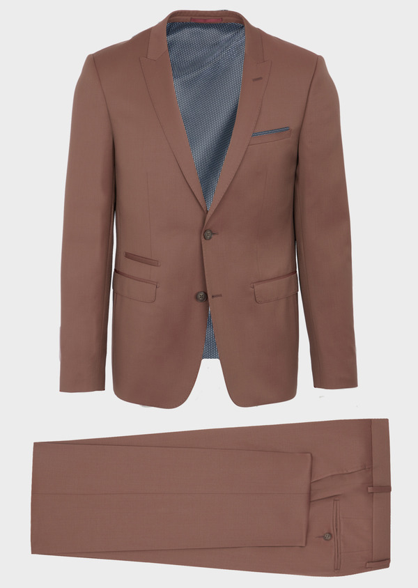 Costume 2 pièces Slim en laine unie rose - Father and Sons 40995
