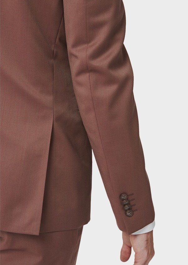 Costume 2 pièces Slim en laine unie rose - Father and Sons 40999