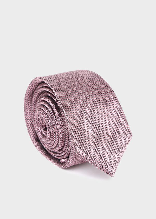 Cravate fine en soie rose à motifs géométriques - Father and Sons 35112