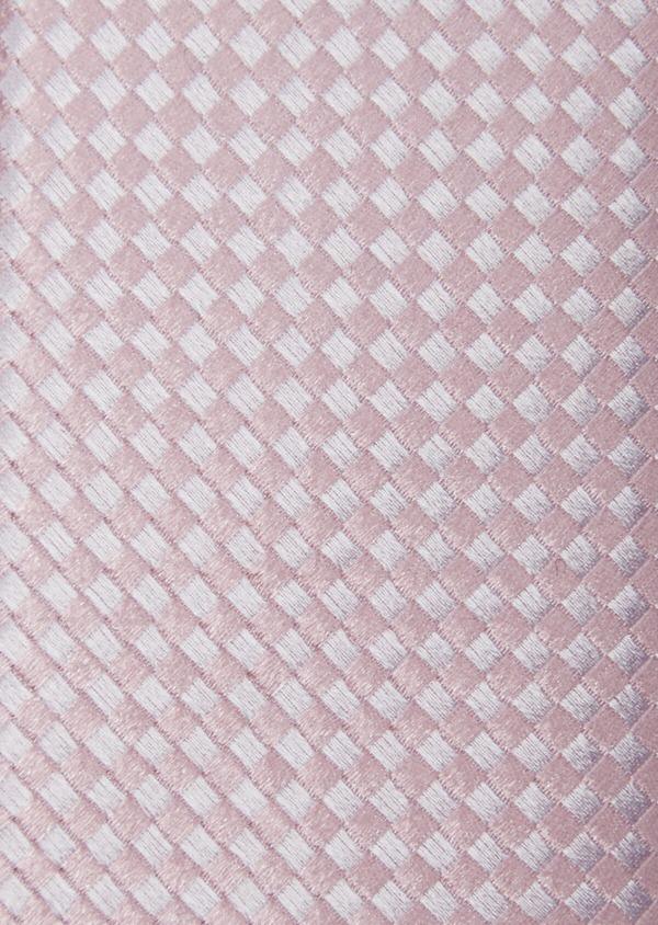 Cravate fine en soie rose à carreaux - Father and Sons 37886