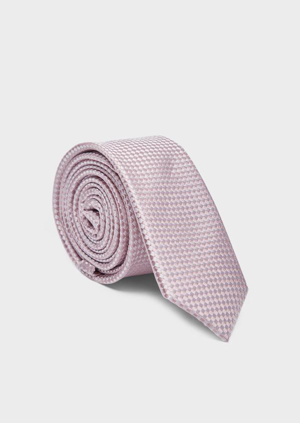 Cravate fine en soie rose à carreaux - Father and Sons 37885